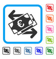 euro banknotes payments framed icon vector image