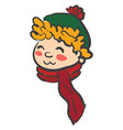 face of a boy in colorful winter clothes or color vector image