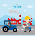 factory industry boy engineer safety car vector image vector image