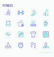 fitness thin line icons set vector image