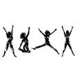 Four happy girls silhouettes vector image