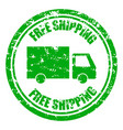 free shipping guarantee rubber stamp with lorry vector image vector image