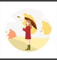 girl walks in park in autumn vector image vector image
