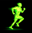 Green fiery running man vector image vector image
