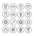 harvest farming line icons set on white vector image