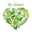 heart shape green fruits vector image