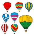 Hot air balloons in flight colored retro sketches vector image vector image