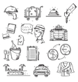 Hotel Services icons doodle hand drawn style vector image vector image