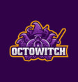 logo octopus witch e sport and sport style vector image