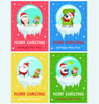 merry christmas icy banners vector image