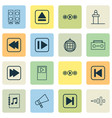 multimedia icons set with fast forward song vector image vector image
