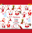 one a kind game with cartoon santa characters vector image vector image