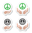 Peace sign with hands icons set vector image vector image