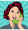 Pop Art lady chatting on the phone vector image vector image