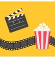 Popcorn Film strip border Open movie clapper vector image vector image