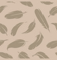 seamless pattern various feathers monochrome vector image vector image