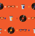 seamless pattern with hipster glasses vinyl vector image vector image
