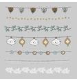 set christmas borders strings garlands vector image vector image