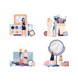 set makeup tools and decorative cosmetics flat vector image