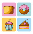 set of bakery dessert cupcake donut bread cake vector image