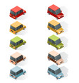 set of isometric car icons vector image