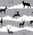 snow winter landscape with deers winter forest vector image vector image