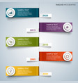 time line info graphic with colorful bent labels vector image vector image