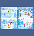 winter christmas holidays of people in parks set vector image vector image