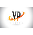 yp y p letter logo with fire flames design and vector image vector image