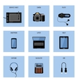 Set of gadgets on a blue background vector image