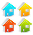 3d house icons in various colors editable graphics vector image