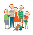 big happy family in christmas hats with pets vector image vector image