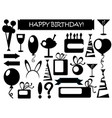 birthday icons black and white vector image vector image