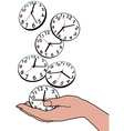 Busy person hand save time clocks vector image vector image
