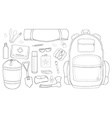 Camping set line-art vector image vector image