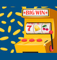 casino gambling machine lottery big win vector image vector image
