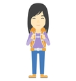 Cheerful woman with backpack vector image