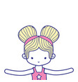 colorful girl dancing ballet with two buns hair vector image