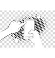Comic phone with halftone shadows Hand holding vector image vector image