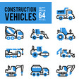 construction vehicle and transport monocolor vector image vector image