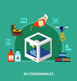 consumables for 3d printing design concept vector image vector image