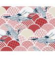 crane bird traditional kimono pattern sketch line vector image vector image