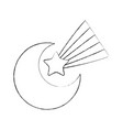 cute moon shooting star vector image vector image