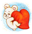 cute smileyng white bear grabbing a big heart vector image
