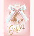 easter shiny pink egg with silk bow in confetti vector image vector image