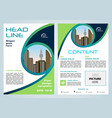 flyer corporate business with green blue circle vector image