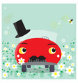 funny car cartoon moustached groom vector image vector image