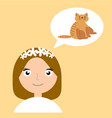 girl thinks about animal home flat vector image vector image