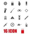 grey military icon set vector image vector image