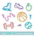 hand drawn sport stickers vector image vector image